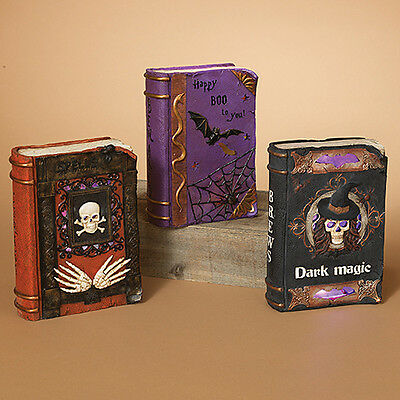 """2221380 Gerson 9.5"""" Witchcraft Lighted Skull Spell Book Halloween Table Decor..."""