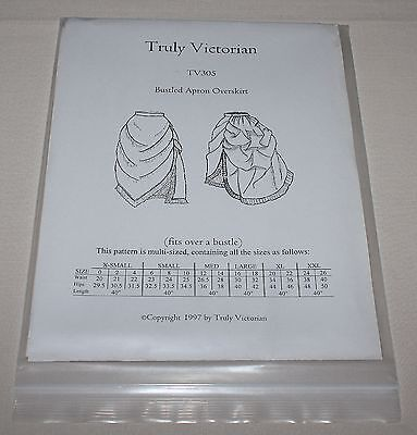 Truly Victorian TV305 Bustled Apron Overskirt Bustle Costume Pattern 0-26 New