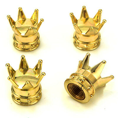 4pcs Universal Golden Crown Style Car Tire Air Valve Stems Cover Caps Wheel Rims