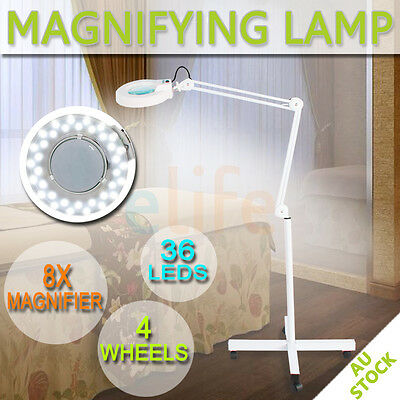 8 x Magnifying Lamp Glass Lens Round Head 36 LED Spa Light Magnifier On Stand