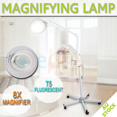 8x Magnifying Lamp Glass Lens Round Head  Fluorescents Bulbs Magnifier On Stand