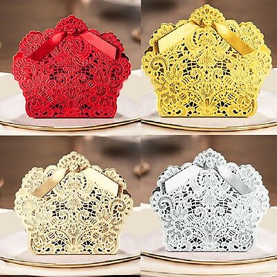 25/50/100PCS Luxury Wedding Favour Favor Sweet Cake Gift Candy Boxes Table Deco