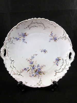 """ANTIQUE C.T. GERMANY Porcelain 10.25"""" Round Cake Plate Purple Floral W/Gold"""