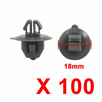 100 Pcs 5.5mm Hole Screw Mounting Wheel Arch Cover Fastener Clips Black For Auto