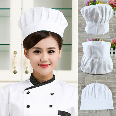 Chef Hat ONE SIZE Fit All Elastic White Cap Cooking Baker Kitchen Restaurant