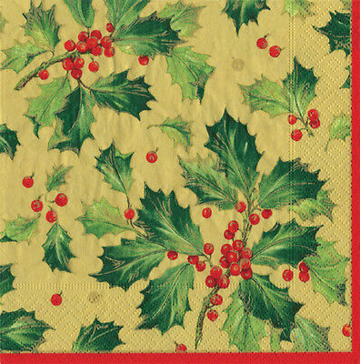 Gold Gilded Holly Christmas Caspari paper table napkins 20 pack 33 cm sq 3 ply