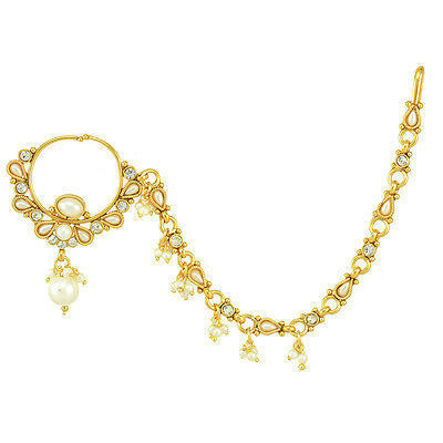 Nath Bridal Nose Ring with Chain Nose Rings For Wedding Pearl Kundan ABNO0001WH