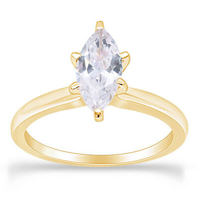 1.25 Ct Marquise Cut Solitaire Engagement Wedding Ring 10K Solid Gold