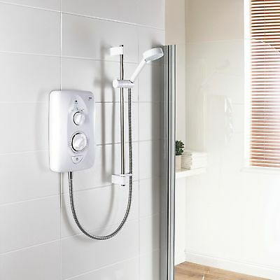 10.8kW Mira Jump White Chrome Electric Shower Kit Modern Bathroom 1.1788.012