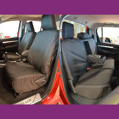 TOYOTA HILUX ICON /& INVINCIBLE WATERPROOF HEAVY DUTY FRONT SEAT COVERS BLACK 260