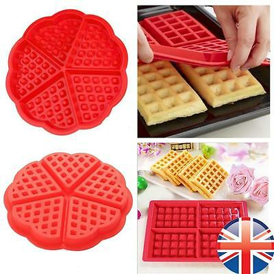 *UK Seller* Silicone Round Square Waffles Mould Muffin Pans Baking Cake Tray