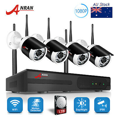4CH Wireless 720P Network CCTV Security Cameras System 1080P NVR IP 1TB Outdoor