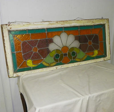 Antique Leaded Stain Glass Window - Colorful