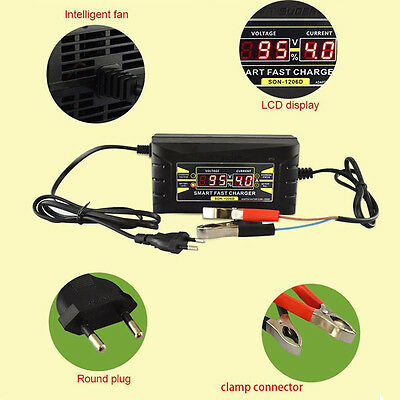 Quality Smart Car Motorcycle Battery Charger LCD Display 12V 6A EU plug