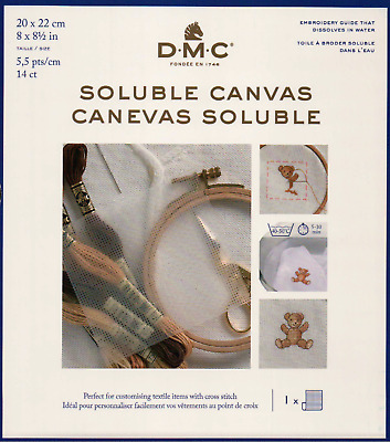 DMC Soluble Canvas 20 x 22cm - Water Soluble Canvas 14 holes inch