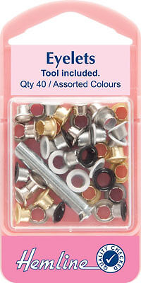 Hemline - Eyelets with Tool: Assorted Colours - 5.5mm - 40pcs
