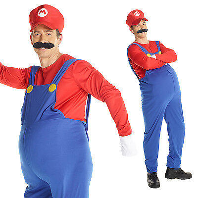 Mens Super Mario Bros MARIO Fancy Dress Costume Adult Plumber Outfit Red