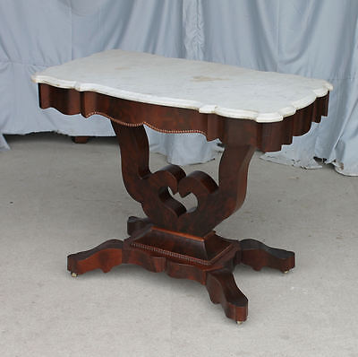 Antique Victorian Marble Top Parlor Table - Heart Shaped Base Design