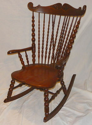 Antique Victorian High Back Oak Rocker – Rocking Chair