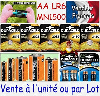 Piles DURACELL ULTRA POWER / TURBO MAX : LR6 LR06 AA MN1500 à l'unité ou par Lot