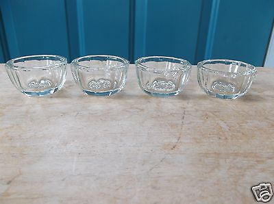 Four Matching Vintage Clear Glass Open Salt Dips