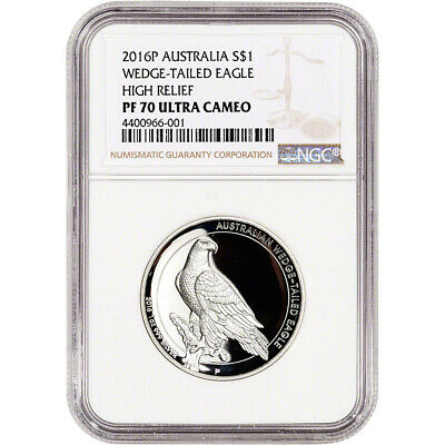 2016-P Australia Silver Wedge-Tailed Eagle High Relief Proof $1 - NGC PF70 UCAM