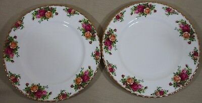 """2X Royal Albert Old Country Rose 2 Dinner Plates 10½"""" Bone China Made England D5"""