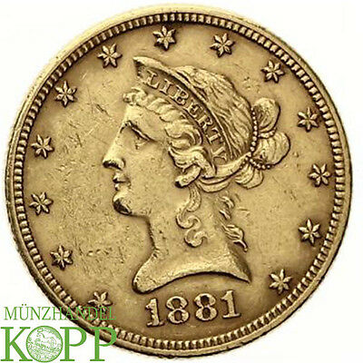 AA1233) USA 10 Dollar 1881 GOLD