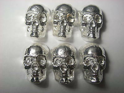 3D Skull - Beaver Bullion hand poured Canadian 2 troy ounce 999 fine silver