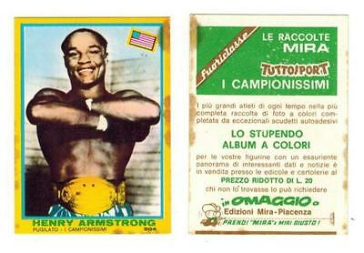 Campionissimi Mira 1968 Henry Armstrong Sticker Card Boxing Tuttosport