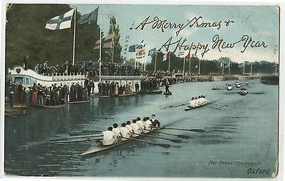 Old 1905 Postcard May Races The Eights Oxford Rowing United Kingdom