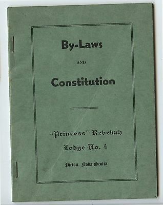 Old 1941 Booklet By-Laws & Constitution Princess Rebekah Lodge Pictou NS