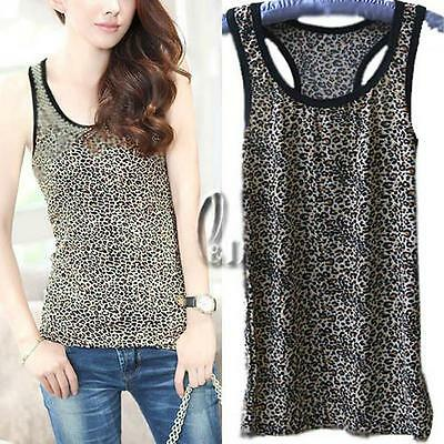 AU SELLER Womens Girls Leopard Animal Soft stretchy Basic Singlet Tank Top t005