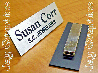 Custom Engraved 1x3 Brushed Silver Name Tag | Badge & Magnet | Employee Magnetic