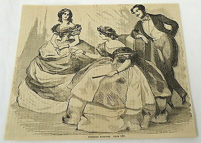 1859 magazine engraving ~ PARISIAN FASHION