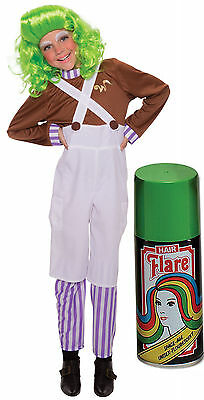 Oompa Loompa Charlie Chocolate Factory Fancy Dress Costume + Green Hair Spray