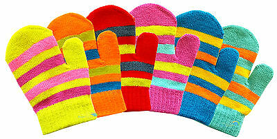 3x Baby Toddler Mittens Gloves Stripe Design Boys & Girls Colours Winter