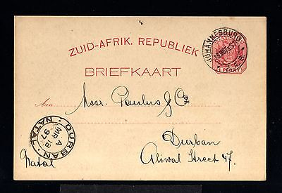 12627-SOUTH AFRICA-OLD POSTCARD JOHANNESBURG to DURBAN (natal).1897.BRITISH