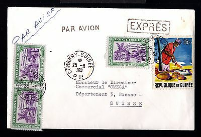 12642-GUINEE-AIRMAILCOVER CONAKRY to BIENNE (switzerlan)1965.FRENCH Colonies