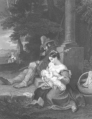 PRETTY YOUNG GIRL MOTHER BREAST FEEDS BABY Road Side ~ 1851 Art Print Engraving