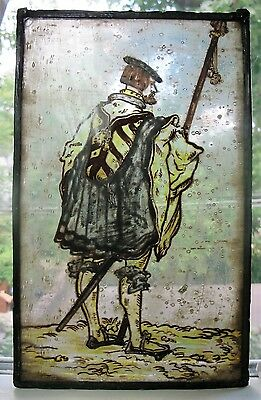 Antique 17th C. STAINED GLASS Window w/ Royal Banner  c. 1675  ancient French