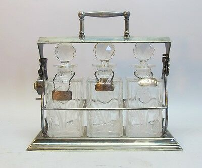 Superb English ART NOUVEAU Engraved Crystal Decanters & Tantalus c. 1910 antique