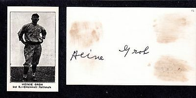 Heinie Groh  ( Debut 1912 )  NYG CIN PIT  SIGNED AUTOGRAPH AUTO 3x5 INDEX COA