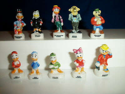 DUCK TALES French Porcelain FEVES Set of 10 Mini Figurines UNCLE SCROOGE Disney