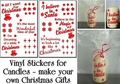 Vinyl Stickers for Christmas Candles - DIY CHRISTMAS CANDLE GIFTS - DIY Gift