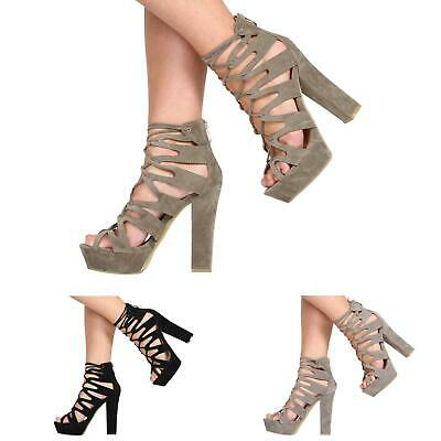 daf4afa1803e Womens Ladies High Heel Platform Cut Out Gladiator Lace Up Party Shoes Size  3-8