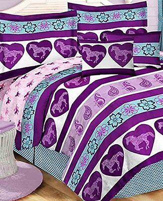 Purple Paisley Pony Horse Girls Kids Twin Comforter Set (6 Piece Bed In A Bag)