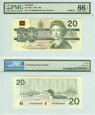 1991 $20 Bank of Canada Bird Series Solid Serial# Note 6666666. PMG GEM UNC66