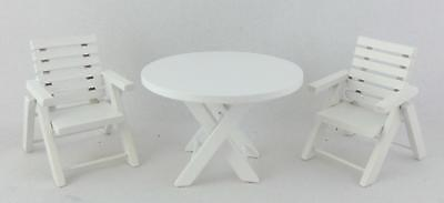 Dolls House Miniature Garden Patio Furniture White Wooden Table & Chairs Set