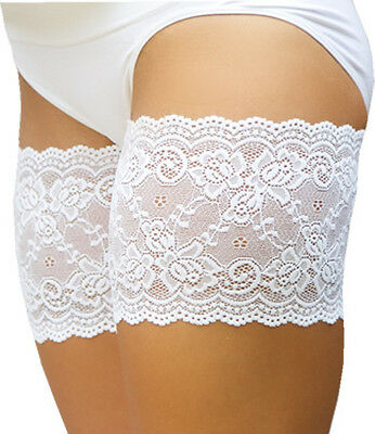 "Genuine Bandelettes White Onyx Anti-Chafing Lace Thigh Bands 21""-32"""